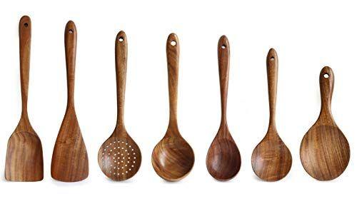1//5Pcs cuisine cuillère en bois bambou cuisine ustensile outil