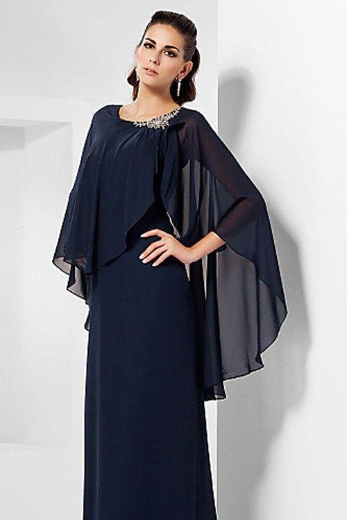 Dark Navy Scoop Floor-length Chiffon Long Mother of Bride Dress