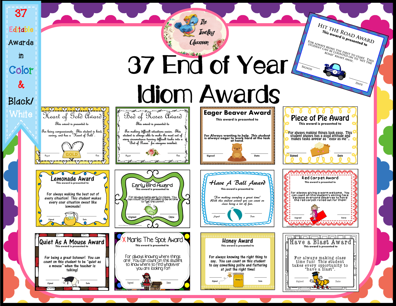 Classroom Prize Ideas ~ End of the year idiom awards win a set