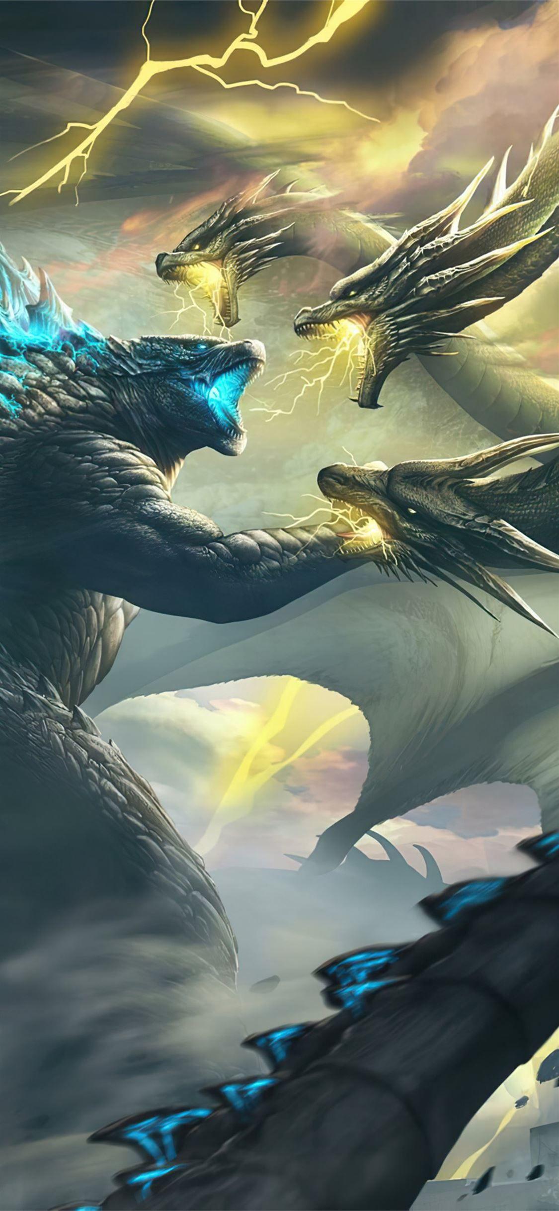 Ghidorah Godzilla King Of The Monsters 4k Godzillakingofthemonsters 2019movies Movies 4k Artstation Iphone11wa Godzilla Godzilla Wallpaper Kaiju Monsters