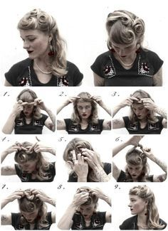How-to Hair Girl - 4 Holiday ready 1940's inspired hairstyles. Victory rolls, Half up bump and roll, Ava Gardner, Veronica Lake.