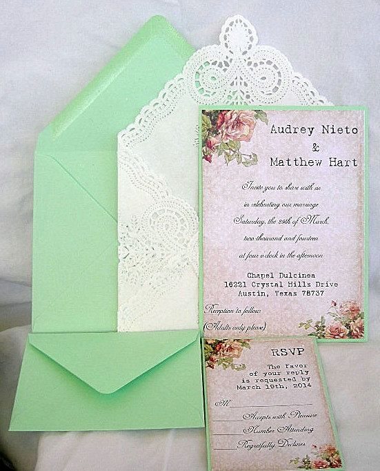 Wedding Invitation Mint Green N Vintage Rustic By AllThingsAngelas
