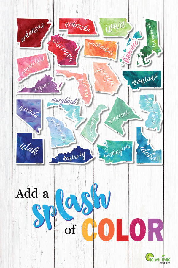 Large, watercolored state stickers for your car, RV, cargo