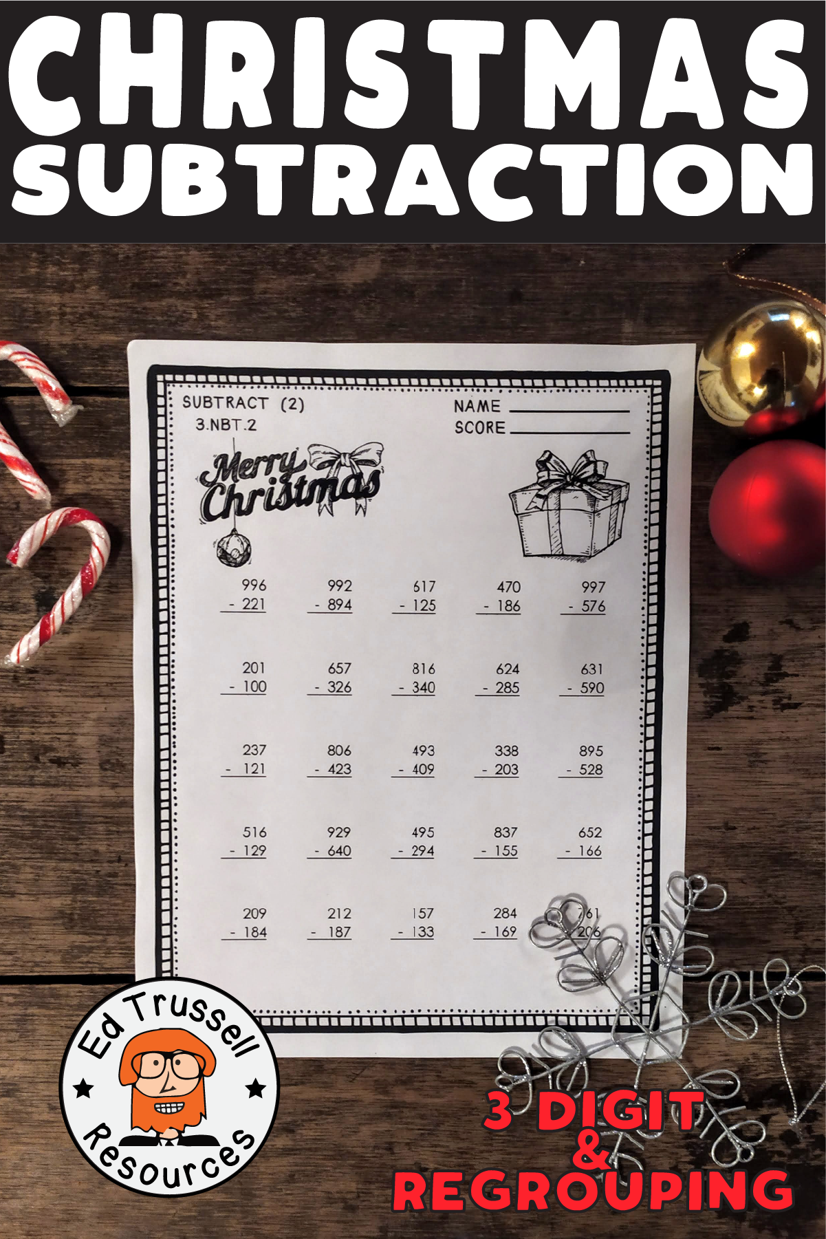 Christmas Three Digit Subtraction With Regrouping Worksheets 3 Nbt 2 Subtraction Common Core Math Standards Christmas Subtraction [ 1801 x 1201 Pixel ]