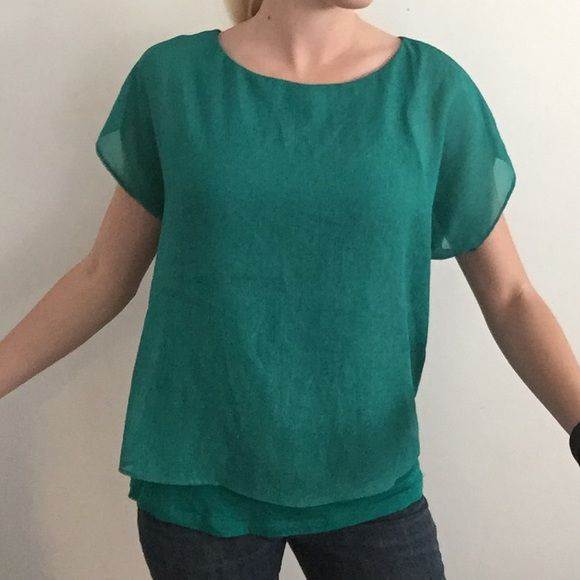 Turquoise shimmer flowing top Turquoise shell is shimmery chiffon, liner underneath is cotton, cap sleeves flow Express Tops Blouses