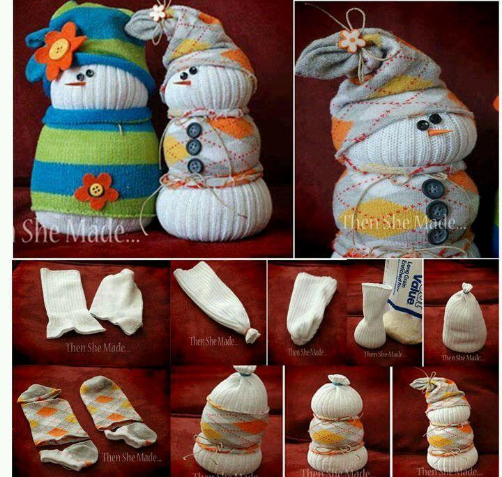 Sneeuwman van sokken maken