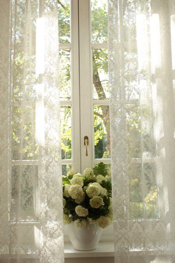 """JOSEPHINE feine Französisch bestickt aus weiß und natürliche weiß W110"""" 280cm voller Lenght Spitze Vorhang Verkauf durch das Panel oder Custom"""