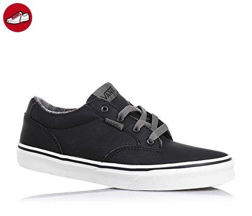 VANS - Schwarzer Schuh mit Schnürsenkeln aus Leder, mit Metall-Ösen, hinten  und