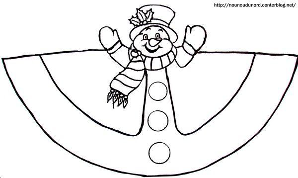 Cloriage cône du Bonhomme de neige | Basteln weihnachten