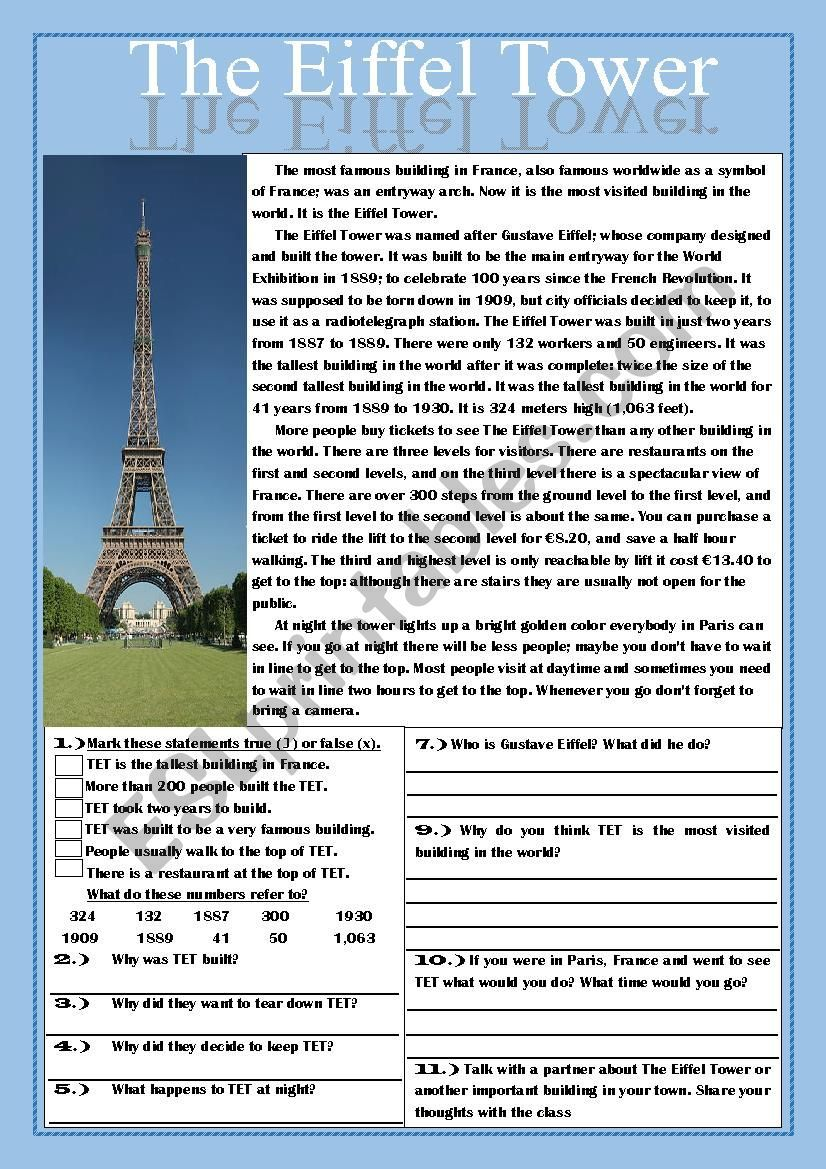 The Eiffel Tower Reading Comprehension Practice Exercises Esl Worksheet By Teache Reading Comprehension Practice Comprehension Practice Reading Comprehension [ 1169 x 826 Pixel ]