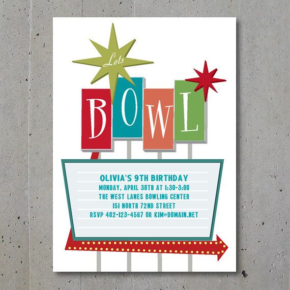 Party Invitation  Retro Bowling Party  Birthday Bowling Party
