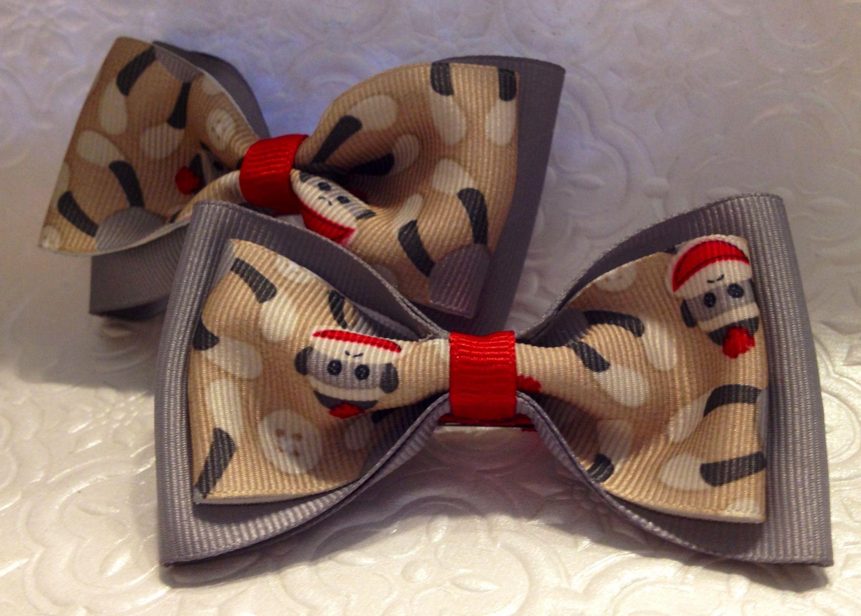 Sock monkey tuxedo Hair Bows