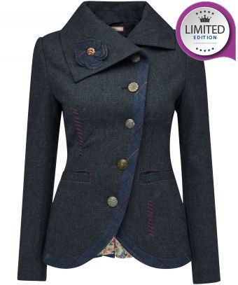 """Flattering and such an easy-wearer, this beautifully tailored navy jacket is a great staple for the warmer months. With a lovely check trim, contrasting stitching and a detachable corsage, it's the small details that give this simple jacket the Joe Browns look. Approx Length: 65cm Our model is: 5'7"""""""