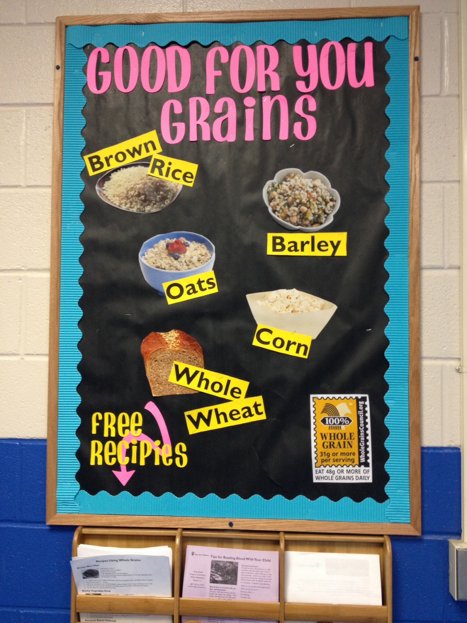 Go green vegetable bulletin board idea myclassroomideas com - Good For You Grains Nutrition Bulletin Board About Whole Grains Elementary Health And Healthy Choices
