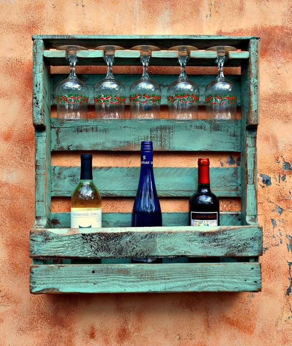 Our All Time Favorite Rustic Spaces: Rustic Wood Wine Rack, Distressed Turquoise, Pallet Wine