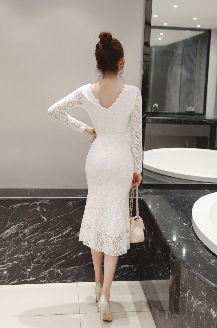 Black White O Neck Long Sleeve Ruffle Office Bodycon Midi Mermaid Dress Uniqistic Com White Lace Midi Dress Mermaid Midi Dress Tight Wedding Dress [ 1135 x 750 Pixel ]
