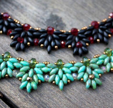 tutorial amanda beaded necklace with super duo beads perlenschmuck pinterest halskette. Black Bedroom Furniture Sets. Home Design Ideas