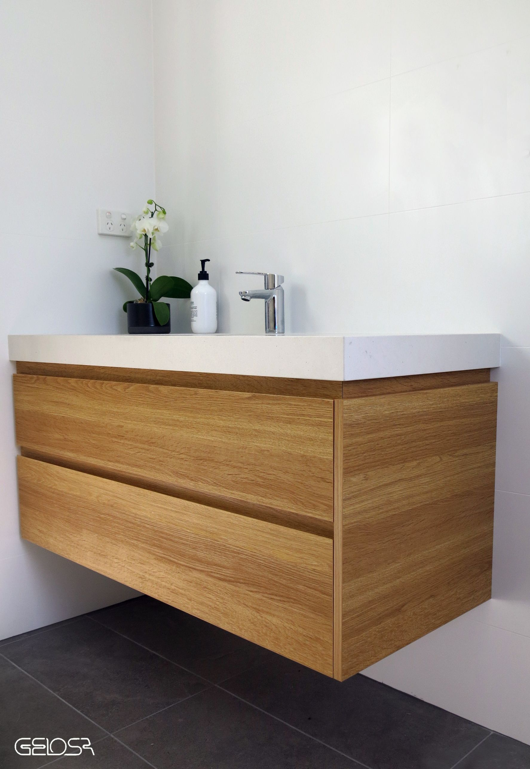 Custom Made Floating Vanity Finished With Tesrol Likewood Honey Oak