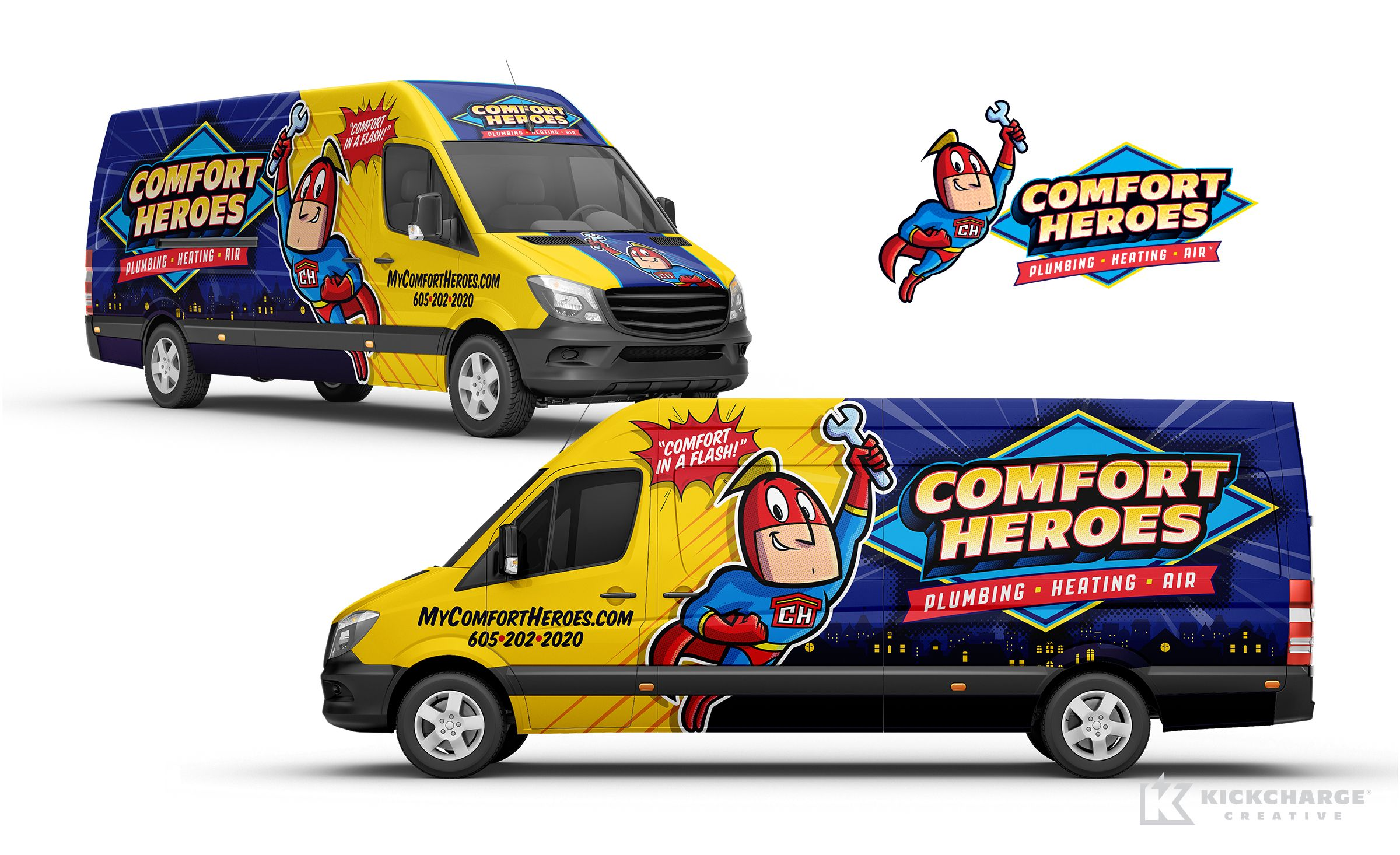 Comfort Heroes Kickcharge Creative In 2020 Car Wrap Design