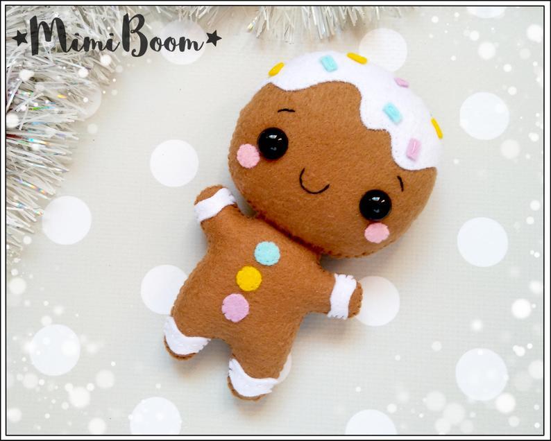 Gingerbread Man Felt Pattern Christmas Pattern Felt Gingerbread