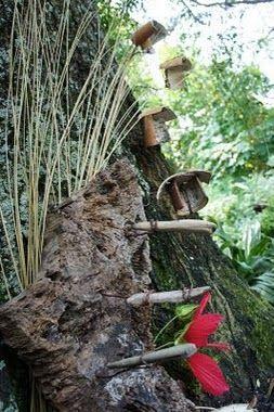 "Environmental Art/Fairy House...""hanging houses"""