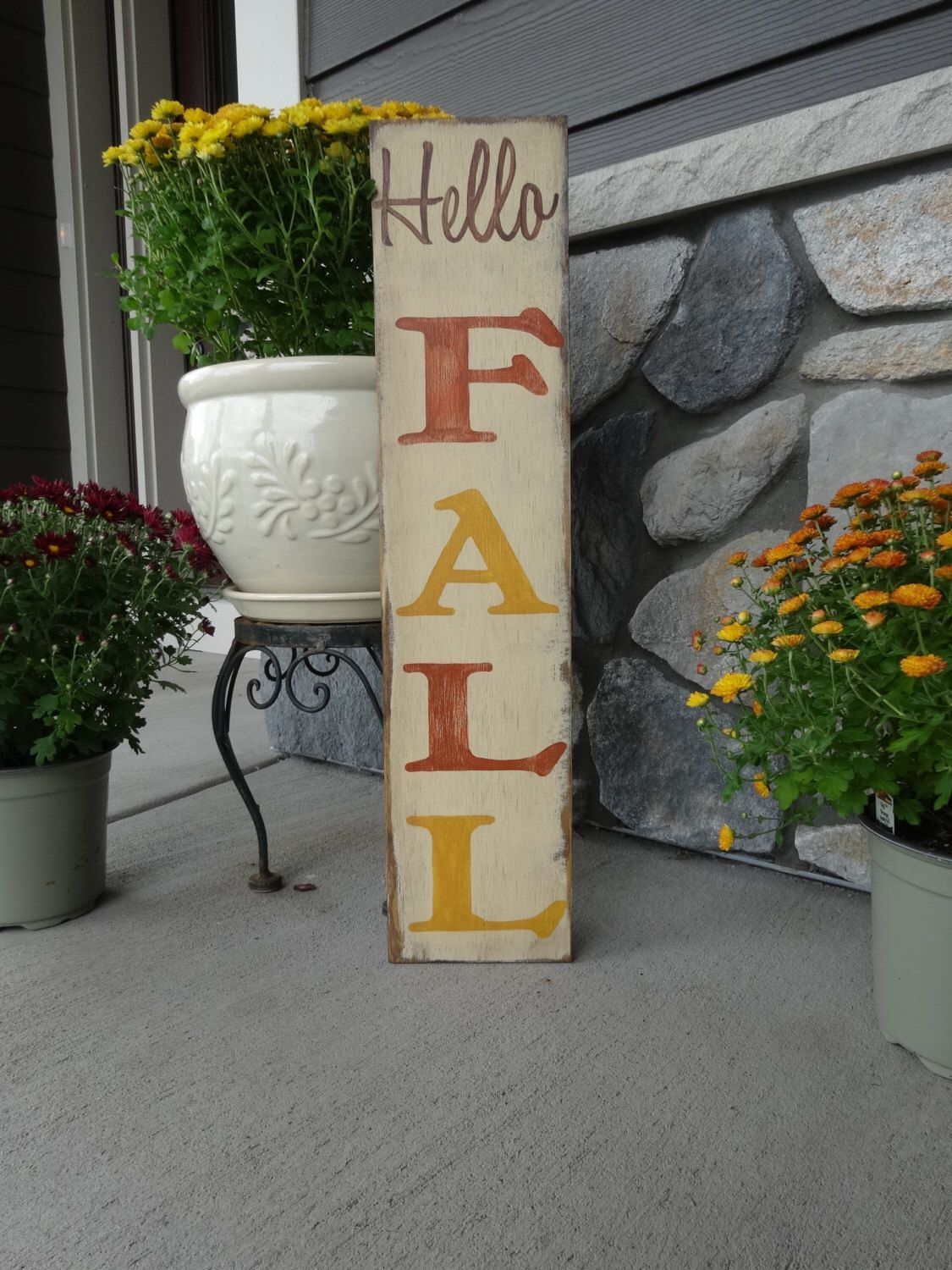 Hello FALL. 6x26 Hand painted wood sign/ Fall decor/ Rustic fall sign/ Fall sign/ Autumn wood sign #hellofall