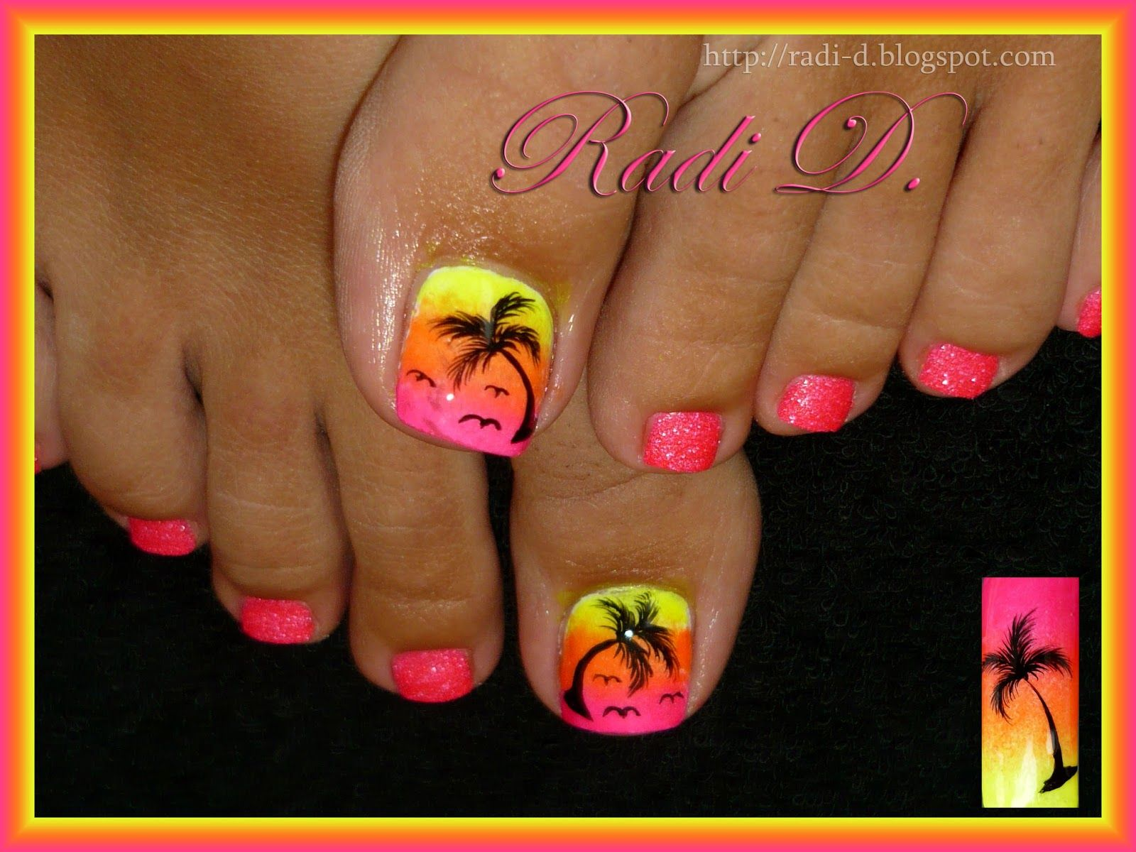 Summer toes - hot pink, white and black. Description from pinterest ...