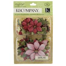K/&Company Susan Winget Glad Tidings Poinsettia and Holly Layered Accents
