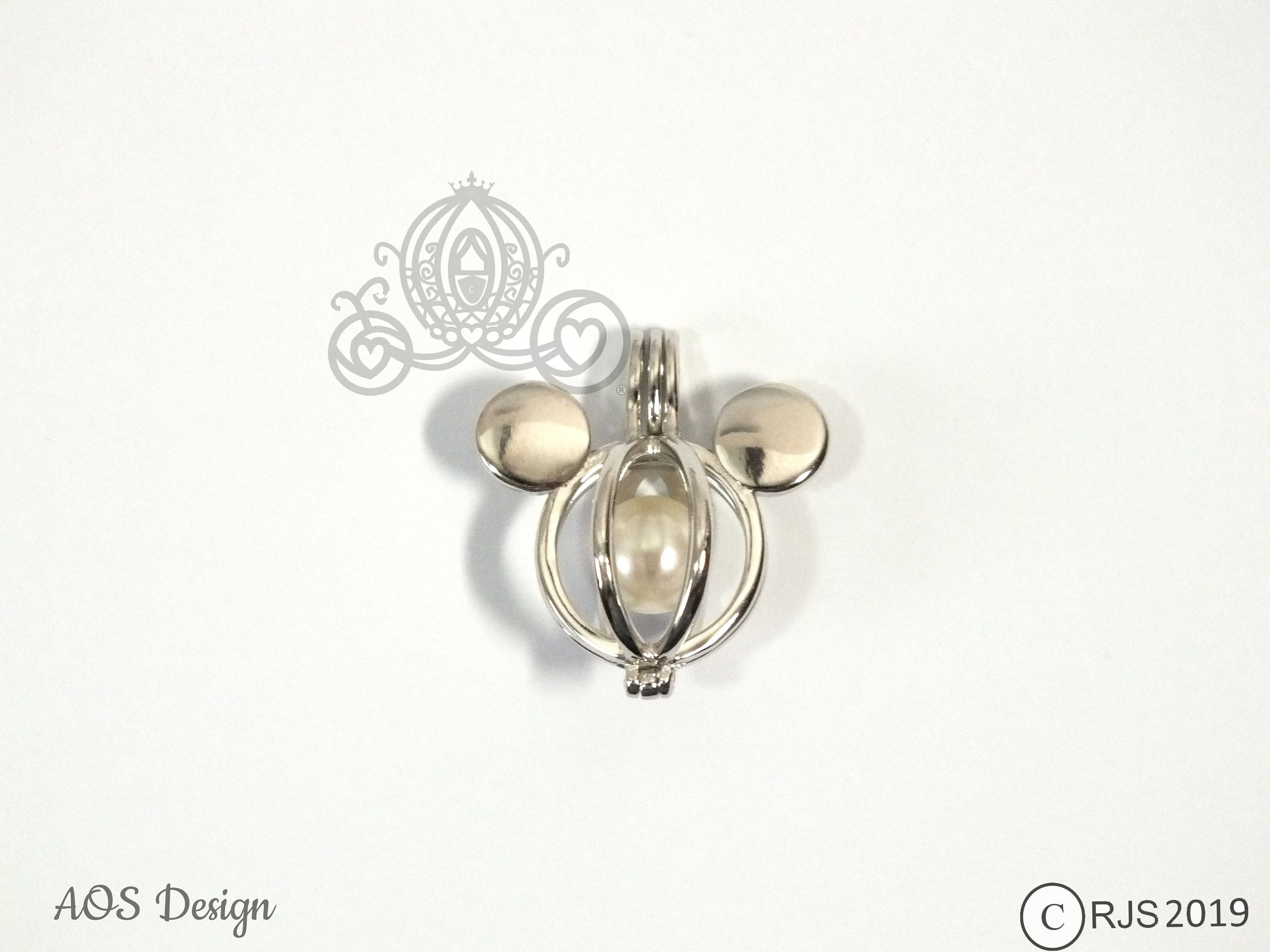 Disney 101 Dalmatians Dog Paw Print Inspired Cage for Freshwater or Akoya Pearls Pearl Cage Necklace Disney World Pick a Pearl Cage