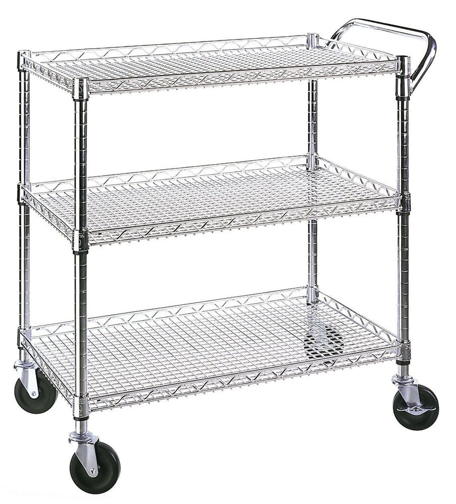Wire Rolling Cart Kitchen Garage Commercial Utility Cart