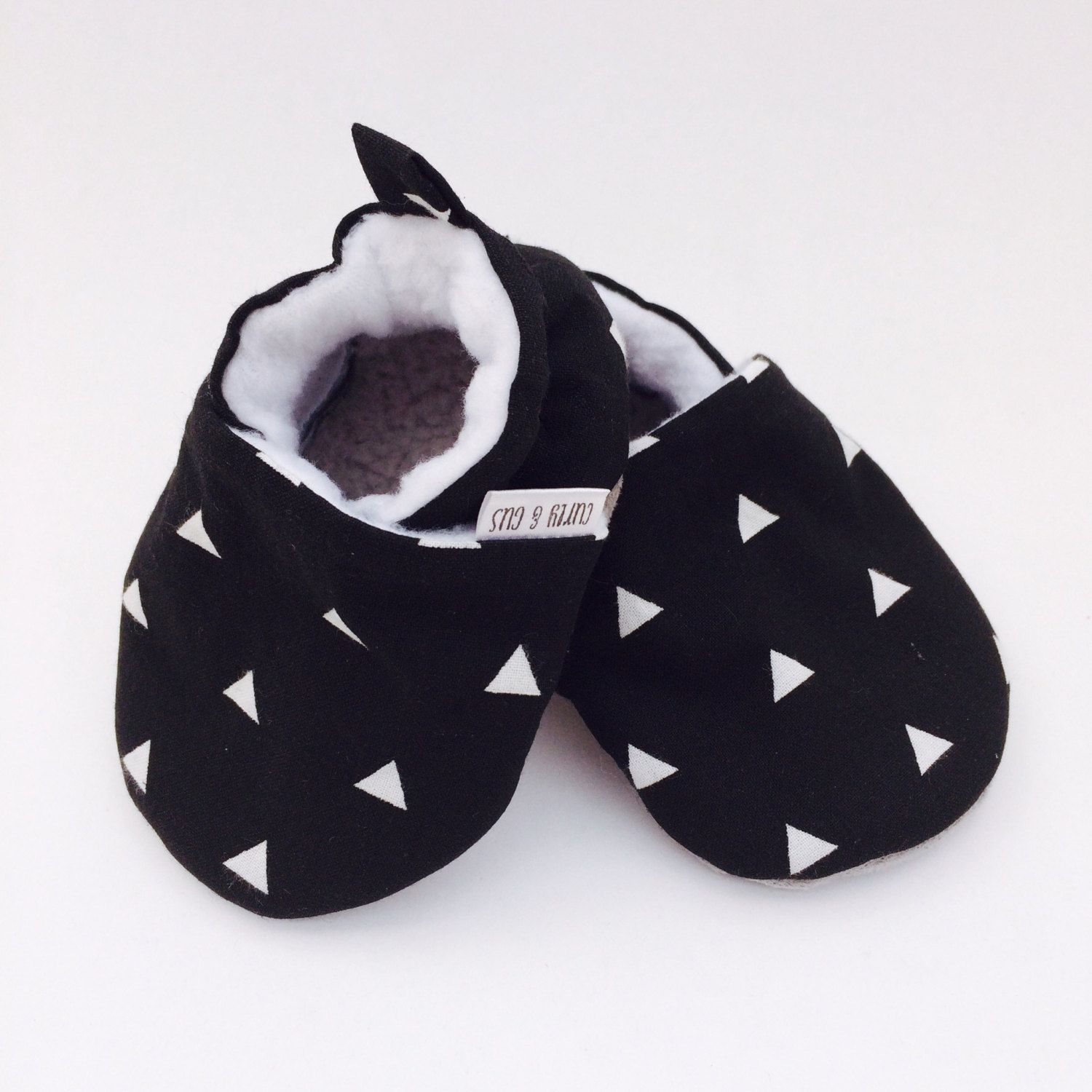 Baby Shoes Triangles Black and White Monochrome Baby Soft Sole