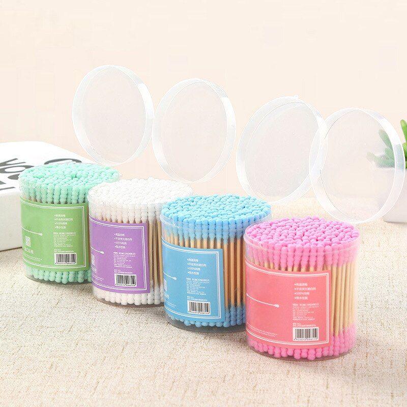 New 200 Pcs/Pack Colorful Double Head Cotton Swab Sticks Cosmetic Makeup Cotton Swab Stick Head Ear
