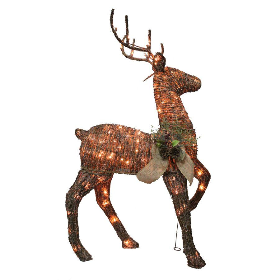 Holiday Living 1 Piece Grapevine Deer Outdoor Christmas Decoration Lowe S Canada