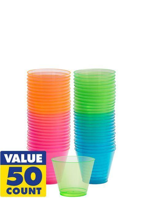 Neon Plastic Short Tumblers 50ct Party City Beach Theme Party