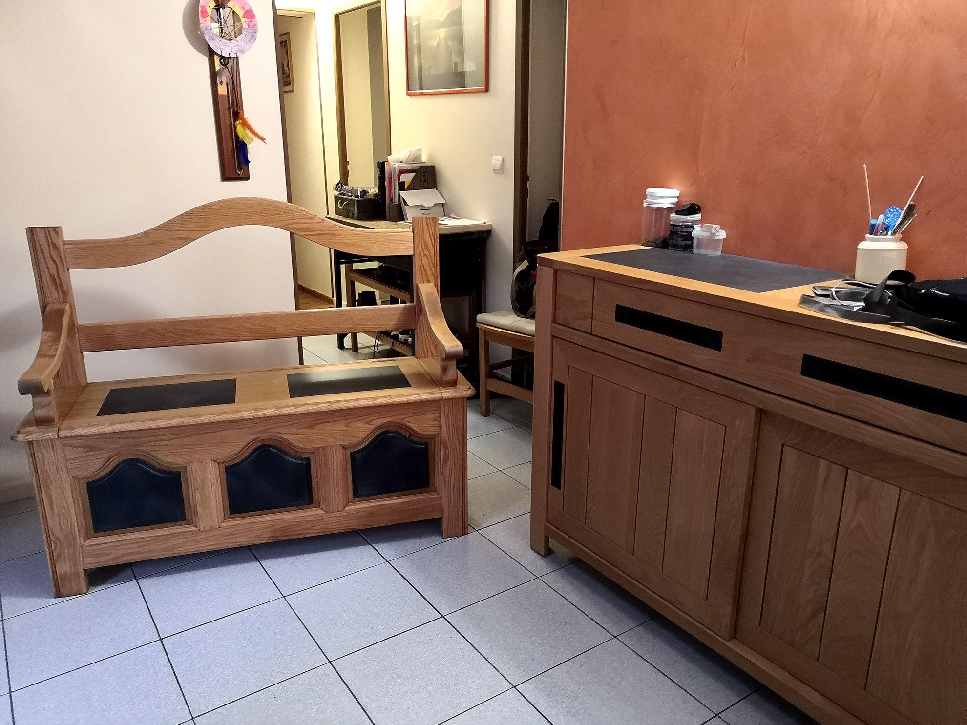 Banc Coffre D Entree Chene Brut Et Noir En 2020 Relooking Meuble Mobilier De Salon Decoration Maison