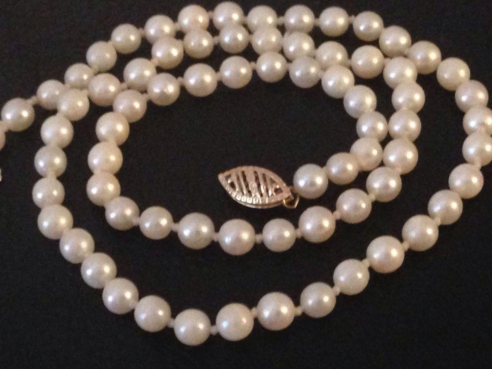 Womens Cultured Akoya Pearl Necklace 14 Karat Yellow Gold Chain