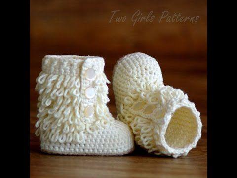 Botitas de bebé de ganchillo. Crochet baby boots.