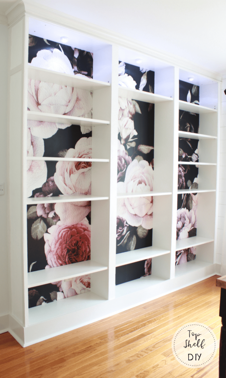 How To Apply Removable Wallpaper to Ikea Billy Bookshelves ...