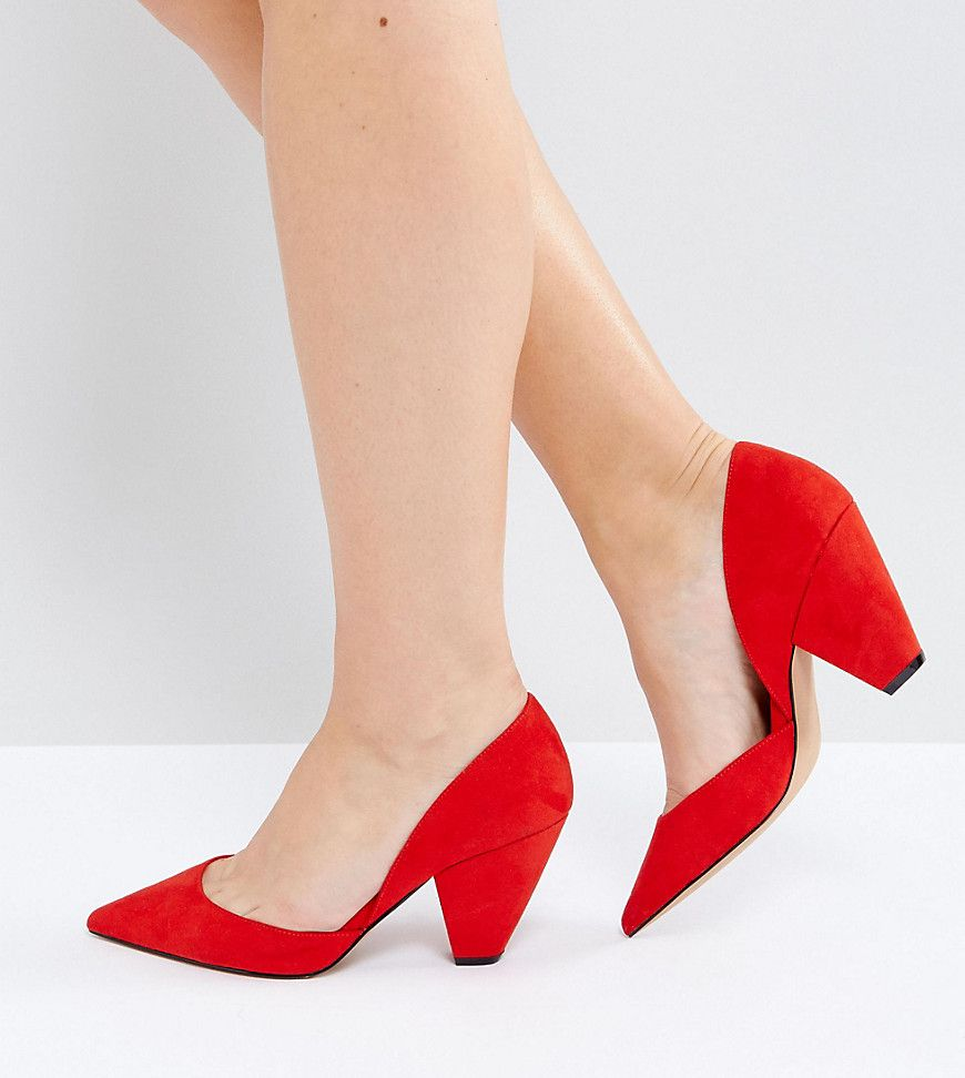 19a9eefa5e8 ASOS SULPHUR Wide Fit Pointed Heels - Red
