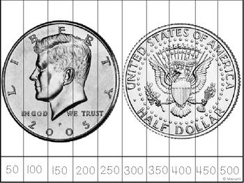 Penny counting by 1 to 10. Nickel counting by 5 to 50. Dime counting by 10 to 100. Quarter counting by 25 to 250. Half Dollar counting by 50 to 500.