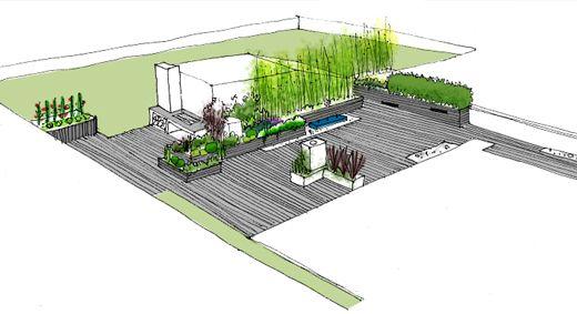 diseño de jardín en atico para vivienda en zaragoza   dibujos