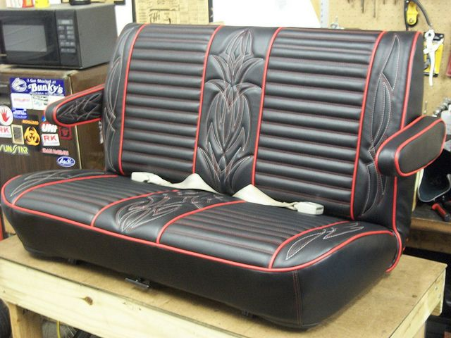 hot rod seat in black and red red and white pinstripe stitching by nate van hofwegen via. Black Bedroom Furniture Sets. Home Design Ideas