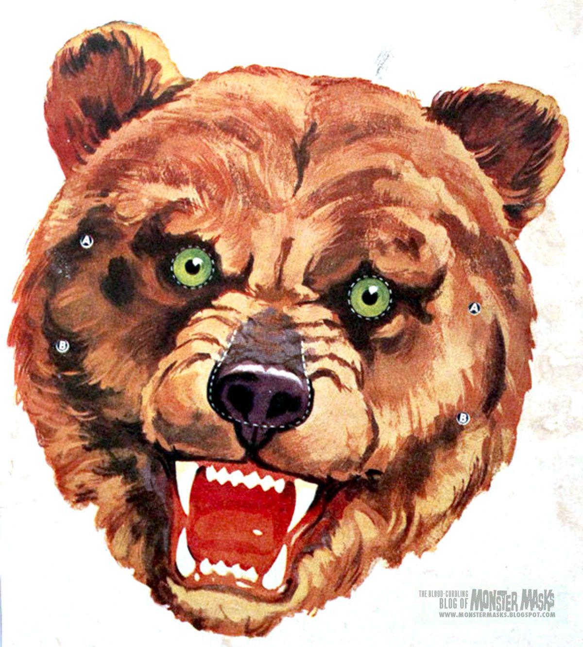 Free Vintage Bear (1950s Kelloggs) Cut Out Printable Mask #free ...