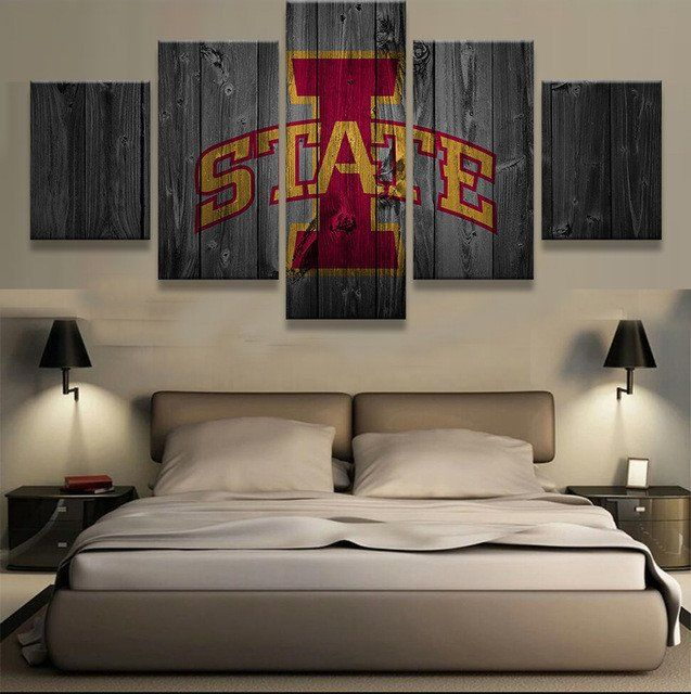 Iowa State 5 Panel Man Cave Boys Room Deco Painting On Canvas Free Shipping Living Room Canvas Prints Home Decor Living Room Decor