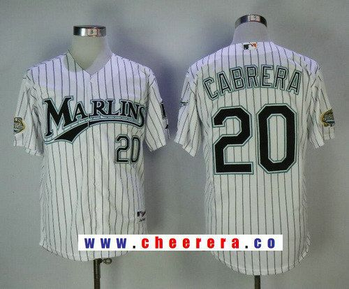 3210c907 Men's Florida Marlins #20 Miguel Cabrera White Pinstripe Home Throwback  2003 World Series Patch Stitched MLB Mitchell & Ness Jersey