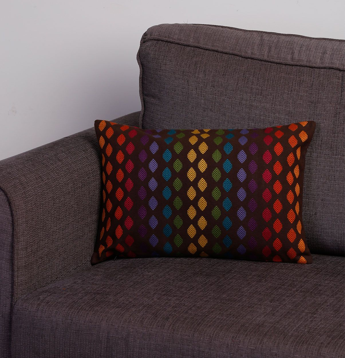 Terrific Rainbow Diamonds Brown Cushion Cover 12X18 Lift The Look Frankydiablos Diy Chair Ideas Frankydiabloscom