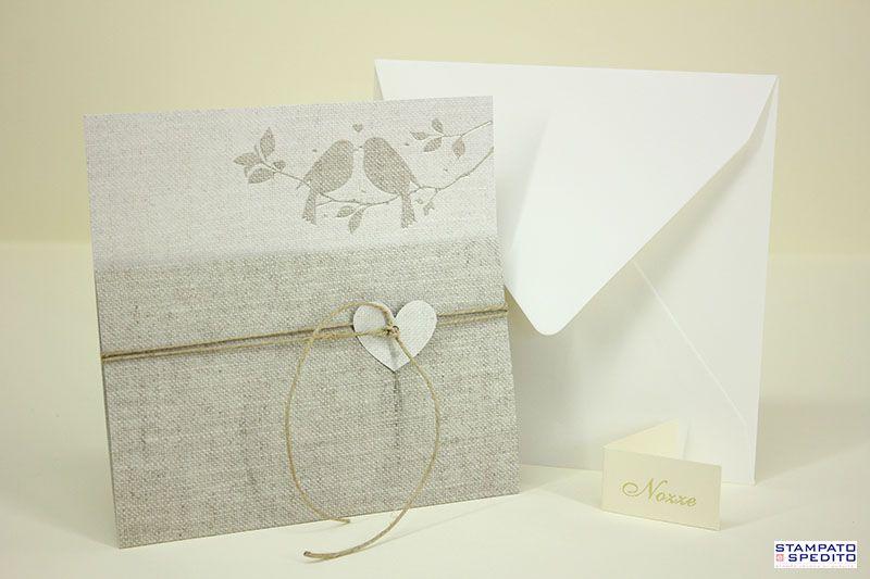 Cartoncino Per Partecipazioni Matrimonio.Partecipazioni Matrimonio Cartoncino Grezzo Con Uccellini Su Un