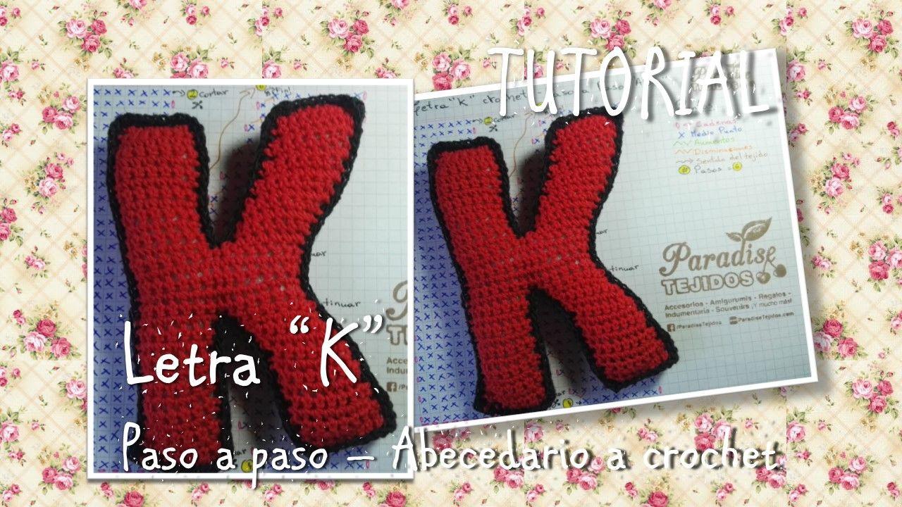 Letra K tejida a crochet explicada paso a paso con patrón ...