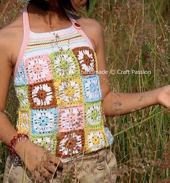 Granny square halter top... maybe on a small person it would look super sweet.