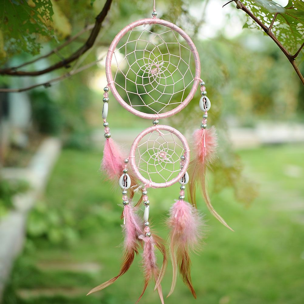India Style Car Handmade Pink Dream Catcher Circular Net With ...